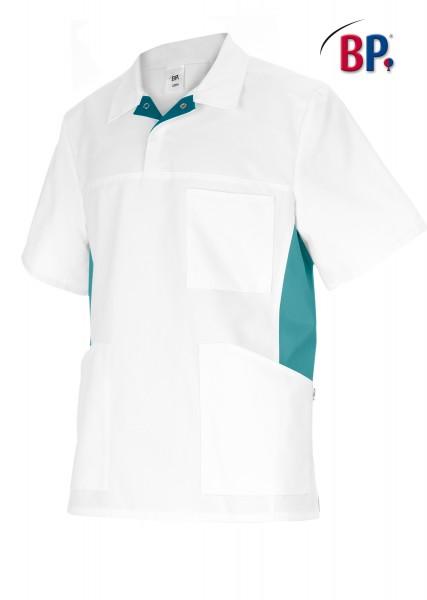 BP 1666 Schlupfkasack für Sie und Ihn aus strapazierfähigem Baumwollmischgewebe in weiß/ petrol