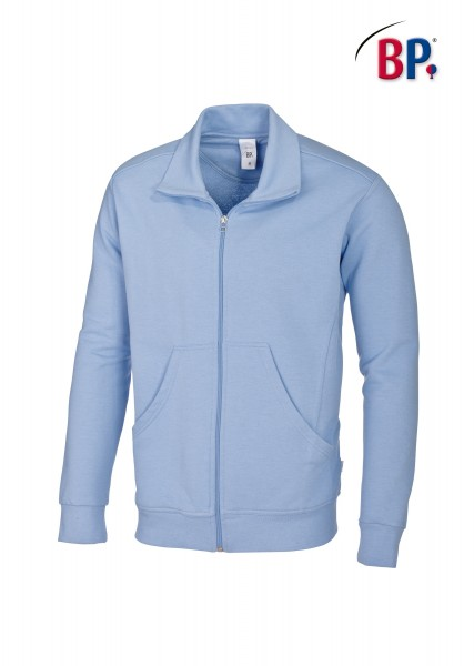 Sweatjacke BP 1627 für Sie & Ihn in Farbe hellblau aus verstärkter Baumwolle
