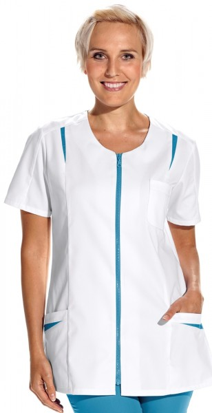 08/2533 Leiber Hosenkasack/ Damenkasack mit Reißverschluss aus Mischgewebe in Farbe weiß-türkis