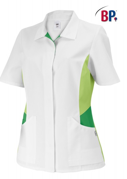 Damenkasack BP 1665 485 mit Knopfleiste aus strapazierfähigem Mischgewebe in Farbe weiß/hellgrün