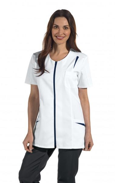 08/2533 Leiber Hosenkasack/ Damenkasack mit Reißverschluss aus Mischgewebe in Farbe weiß-marine