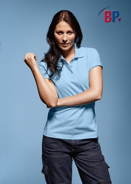 BP Poloshirt 1648 181 11 für Damen in hellblau aus strapazierfähigem Mischgewebe