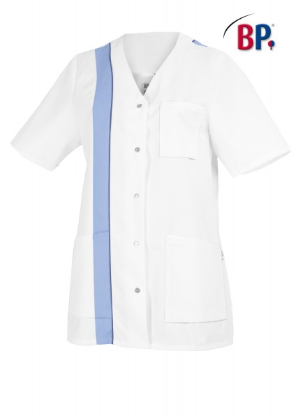 BP Kasack 1616 400 11 für Damen in weiß/hellblau mit Knopfleiste
