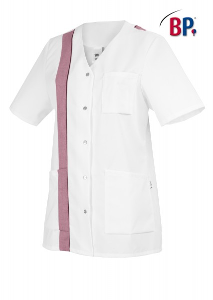 BP Kasack 1616 400 82 für Damen in weiß/bordeaux mit Knopfleiste