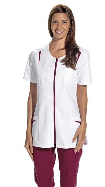 08/2533 Leiber Hosenkasack/ Damenkasack mit Reißverschluss aus Mischgewebe in Farbe weiß-beere