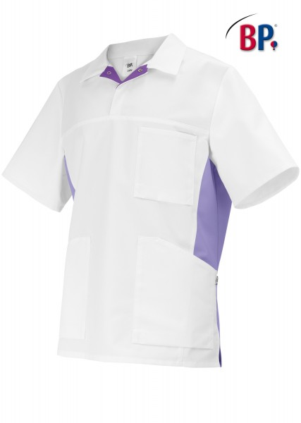 BP 1666 Schlupfkasack für Sie und Ihn aus strapazierfähigem Baumwollmischgewebe in weiß/lila